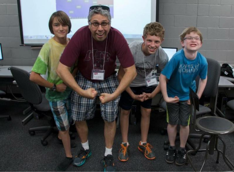 photo of Dr. A With Summer Game Making Camp Middle School Students.