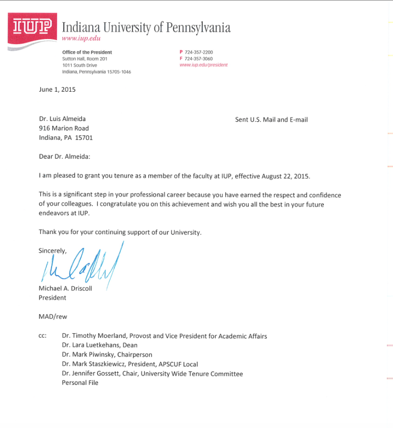 Photo of President's Letter Grating Dr. A Tenure At IUP: August 22, 2015.