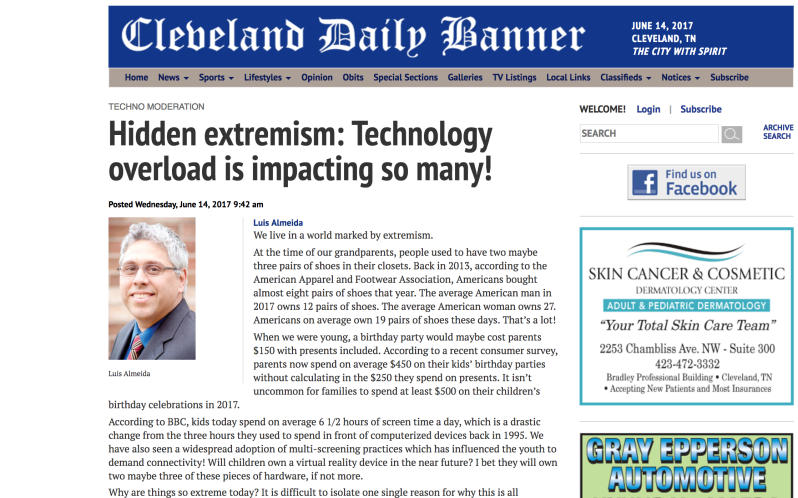"Photo of Dr. A's Column ""Techno Moderation"", Cleveland Daily Banner."
