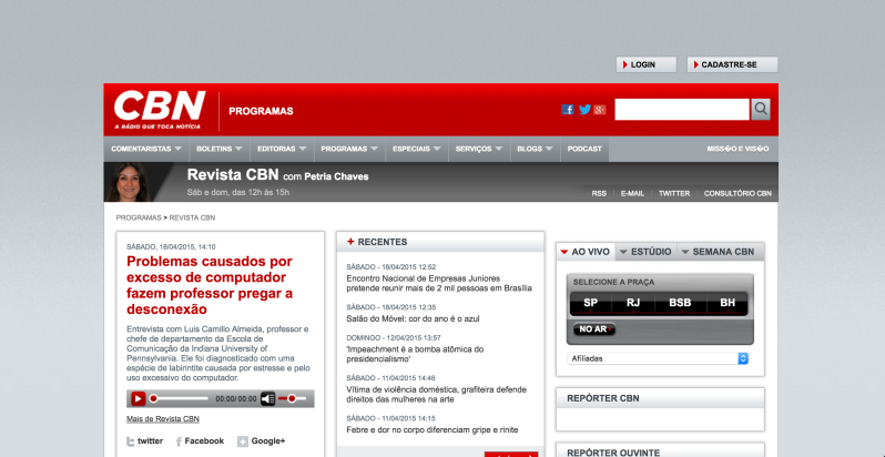 Photo of CBN Radio website featuring Dr. A.