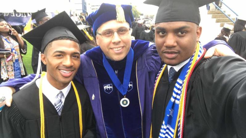 Photo Of Dr. A And Two Of His Students At Spring Graduation Ceremony, Jackson State University. Apen = Actor. Gerald: Graduate Student At Northwestern.