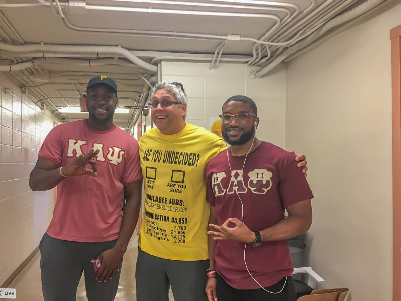 "Photo of Dr. ""A"" and African-American Fraternity members"