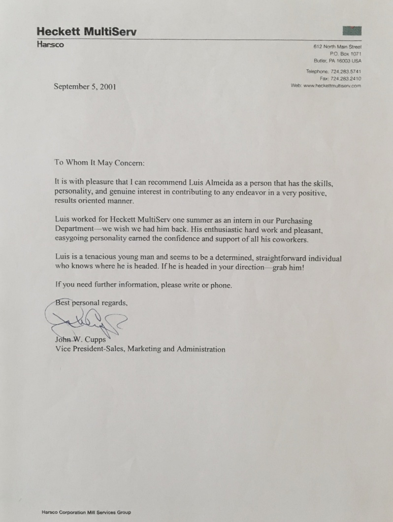 Photo of Letter Of Recommendation From Vice President, John Cups