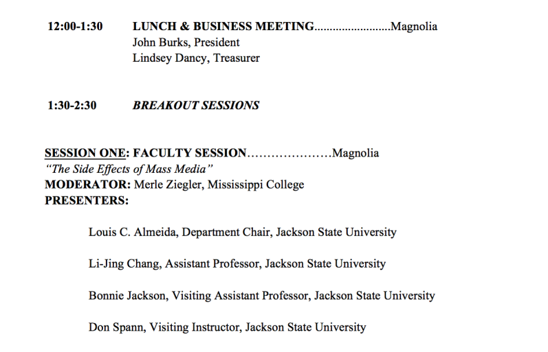 Screen shot of MCA's program listing Dr. A.